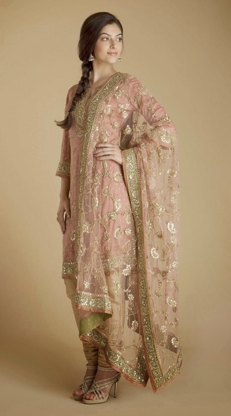 peach designer indian salwar kameez suit punjabi dress
