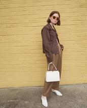 pants,tumblr,brown pants,bag,white bag,slingbacks,shoes,white shoes,jacket,brown jacket,sunglasses