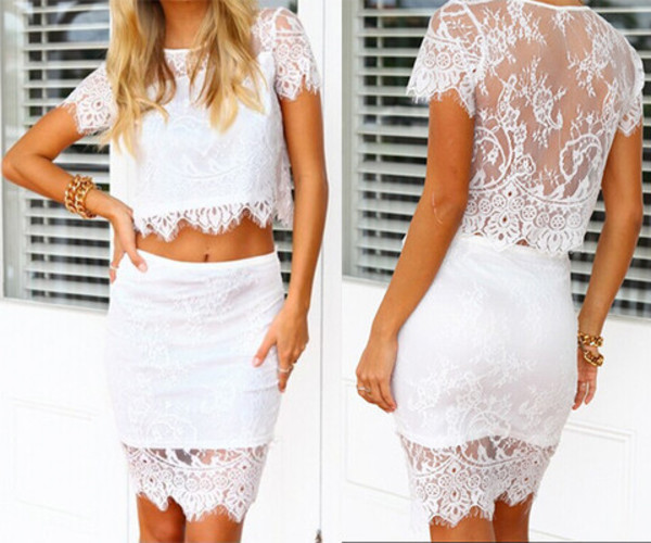 white lace dress two-piece summer dress spring dress skirt