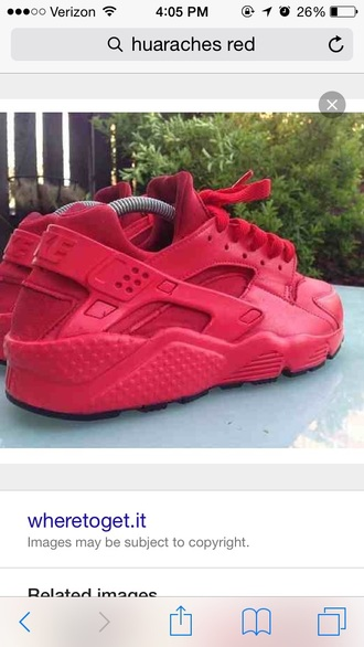 shoes red hurraches nike shoes huarache red sneakers