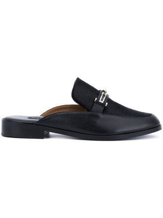 hair women loafers leather black shoes