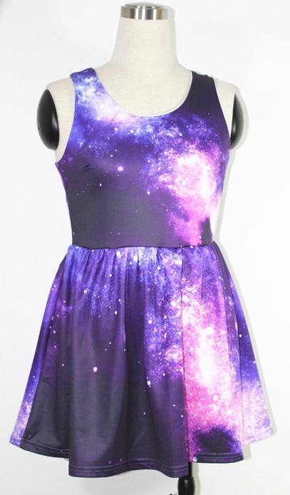 Purple galaxy print skater tank dress