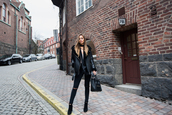 kenza,blogger,scarf,black leather jacket,leather jacket,ripped jeans,black jeans,black bag,choker necklace,black boots,all black everything