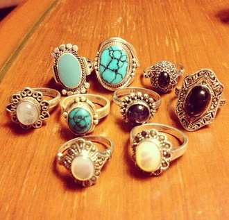 jewels stones blue turquoise silver gold sterling silver sterling silver ring ring jewelry hands accessories fashion accessory aqua black pearl white