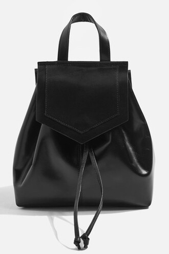 triangle backpack leather black bag