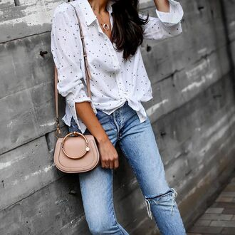 shirt tumblr stars white shirt jeans denim bag nude bag chloe necklace horn necklace jewels jewelry accessories horn crescent pendant