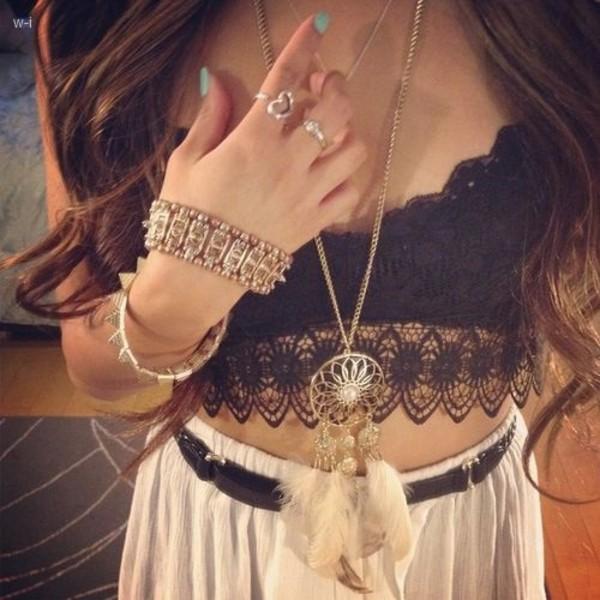 jewels necklace dreamcatcher necklace crop tops lace crop top bracelets ring top belt skirt bralette black lace boho gypsy festival boho jewelry