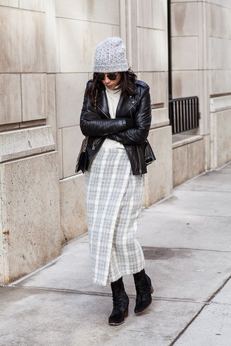 this time tomorrow blogger plaid skirt grey skirt long skirt leather jacket winter outfits knitted beanie jacket sweater skirt shoes hat bag sunglasses grey beanie
