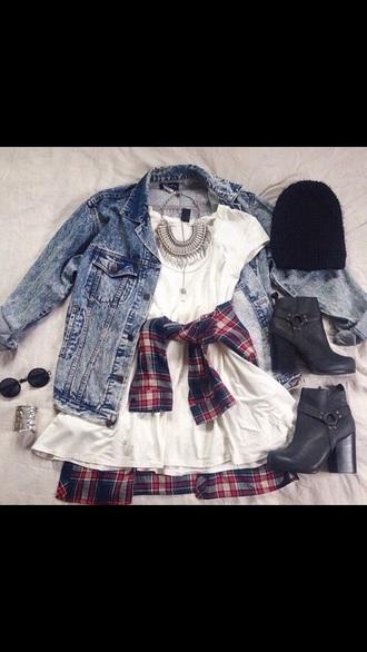 dress white dress denim jacket flannel flannel shirt black booties black beanie jewelry white flowy dress plaid flannel shirt cute white flowy dress