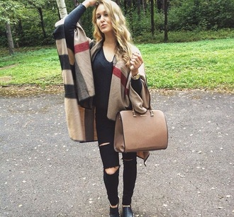 bag brown bag poncho black leather boots jeans