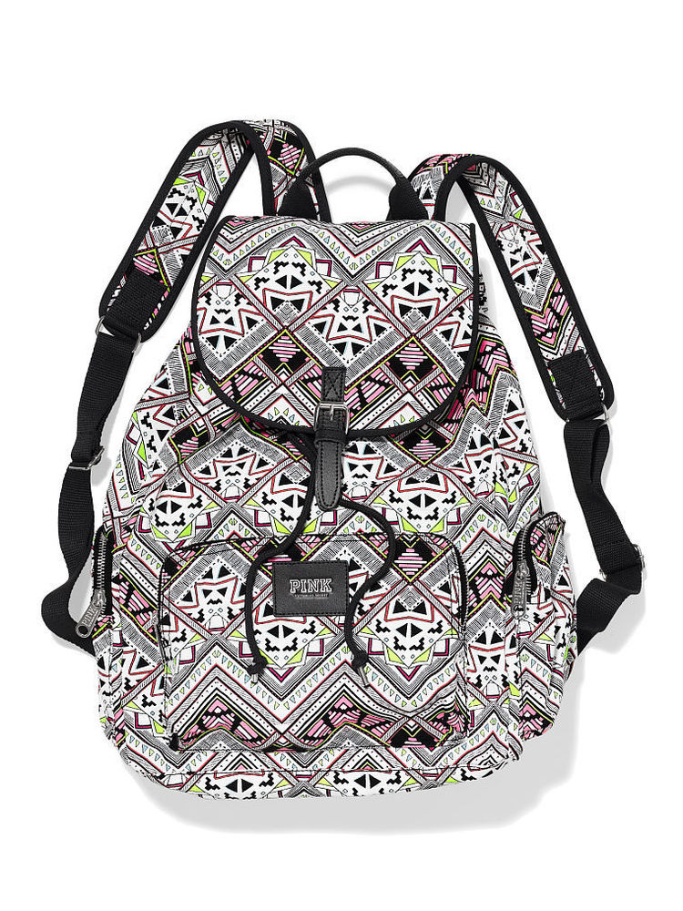 Victoria's Secret PINK Backpack Travel Gym School Book Bag Multi Aztec