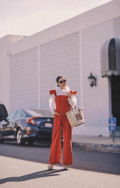 hallie daily blogger jumpsuit shoes bag top sunglasses scarf