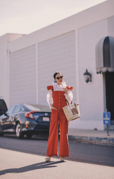 hallie daily blogger jumpsuit shoes bag top sunglasses scarf