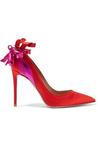 embellished fire pumps satin red shoes