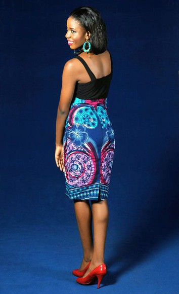 skirt blue skirt african print colorful