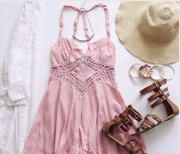 kimono cardigan sandals girly pink summer dress crochet