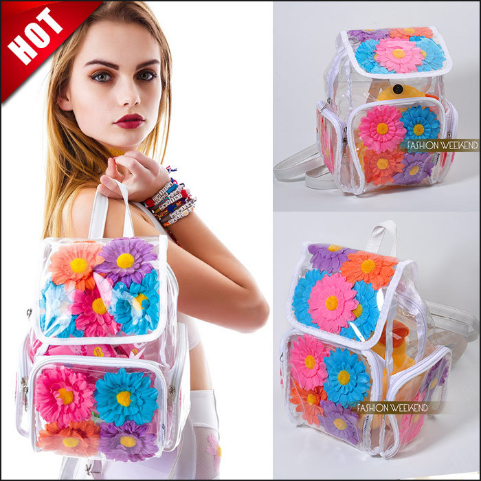 Aliexpress.com : Buy Hot Women Jelly Pvc Transparent Bags Fashion 3D Daisy Flower Backpack Harajuku Zipper Clear Girl School Shoulder Backpack Summer from Reliable bag selling suppliers on FASHION WEEKEND