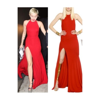 dress red slit miley cyrus