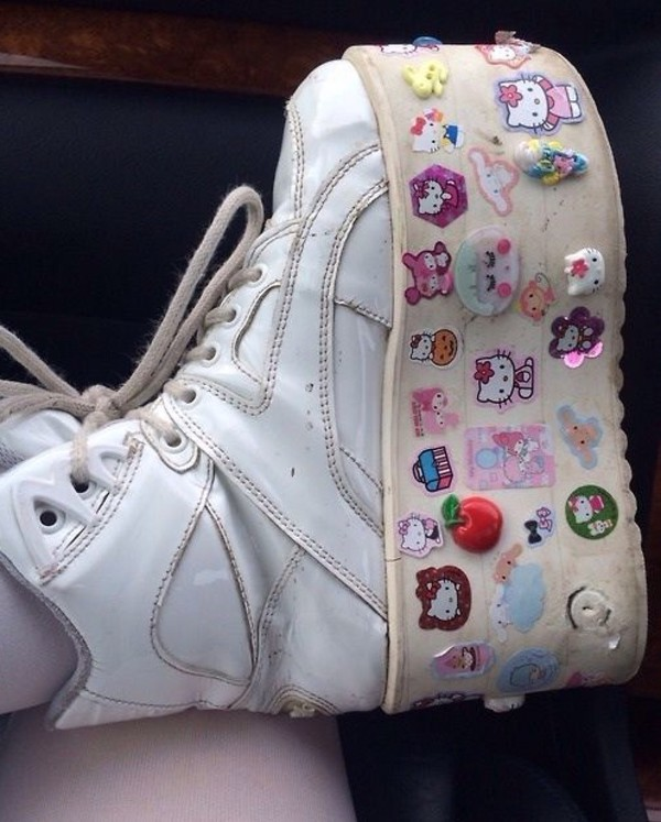 shoes white chunky platform shoes sneakers trainers pastel stickers harajuku alternative 90s style platform shoes harajuku shoes chunky boots 90's fashion
