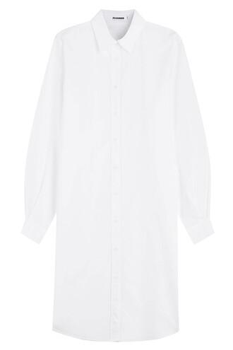dress shirt dress cut-out cotton white