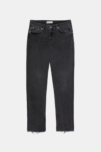 HI RISE SLIM JEANS WITH SPLIT HEMS