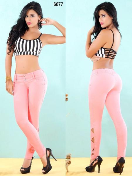 Light Pink Skinny Jeans 6677 | Yallure