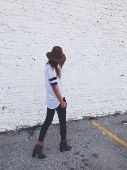 pants hat shoes boots booties high heels jersey top fedora jeffrey campbell