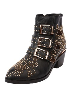 Retro rivet metal buckle pointed boots