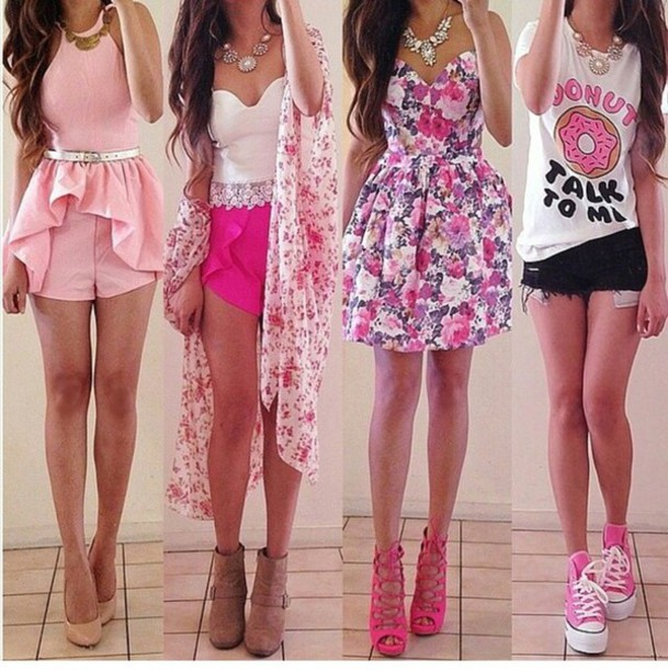 blouse shoes t-shirt shirt summer outfits shorts skirt sexy pink white flowered shorts floral tank top romper top cardigan jewels crop tops pink dress converse quote on it clothes fashion cute jacket outfit idea outfit pink outfit style jewelry flowers long dress outfit kimona forever 21 wetseal tank top donut tshirt. girly dress floral dress floral dress girly belt hair guys girl the weeknd necklace pastel blacks chool ew brunette blonde hair flowy heels flats tan