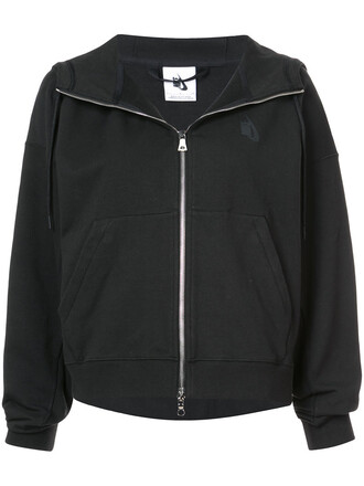hoodie women spandex cotton black sweater