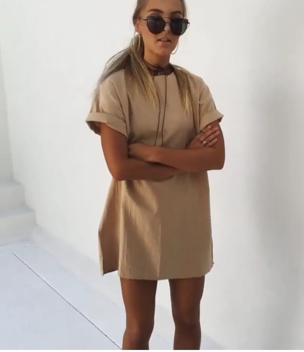 dress blonde hair sunglasses tomboy toned and tanned summer nude dress t-shirt dress