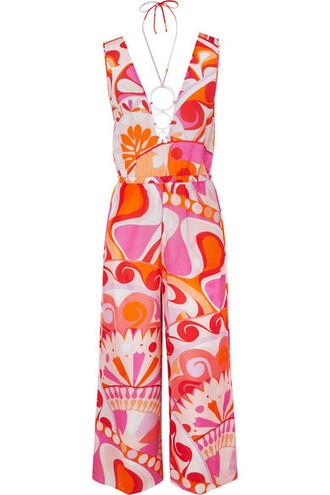 jumpsuit embellished cotton silk pink
