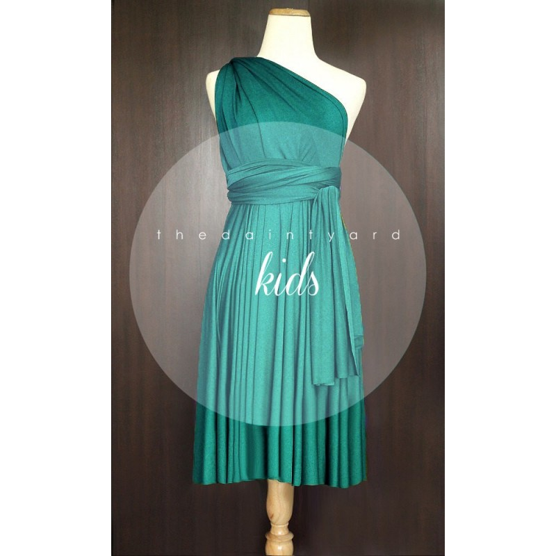 KIDS Teal Green Bridesmaid Dress Convertible Dress Infinity Dress Multiway Dress Wrap Dress Green Flower Girl Dress Twist Dress - Hand-made Beautiful Dresses|Unique Design Clothing