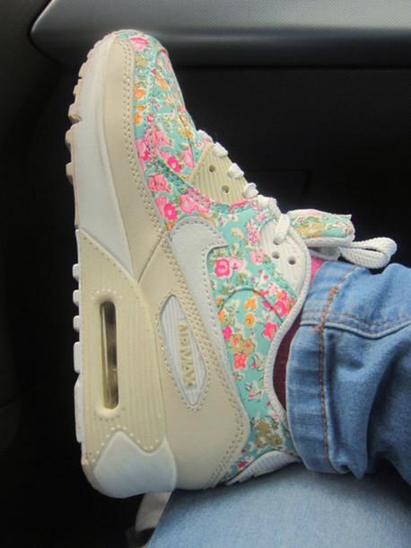 shoes nike sneakers sneakers nike nike shoes air max air max floral flowers beautiful spring nude teal pink hot pink nike air floral pattern