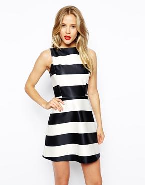 ASOS | ASOS A-Line Dress in Striped Bonded Scuba at ASOS