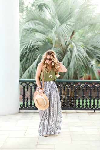 januaryhart blogger tank top skirt jewels shoes hat bag maxi skirt green top shoulder bag summer outfits earrings necklace