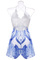 White lace patchwork v neck strappy blue printing jumpsuit