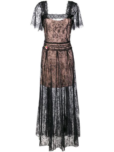 gown long women lace black dress