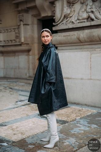 coat leather coat black coat oversized coat boots oversized high heels boots