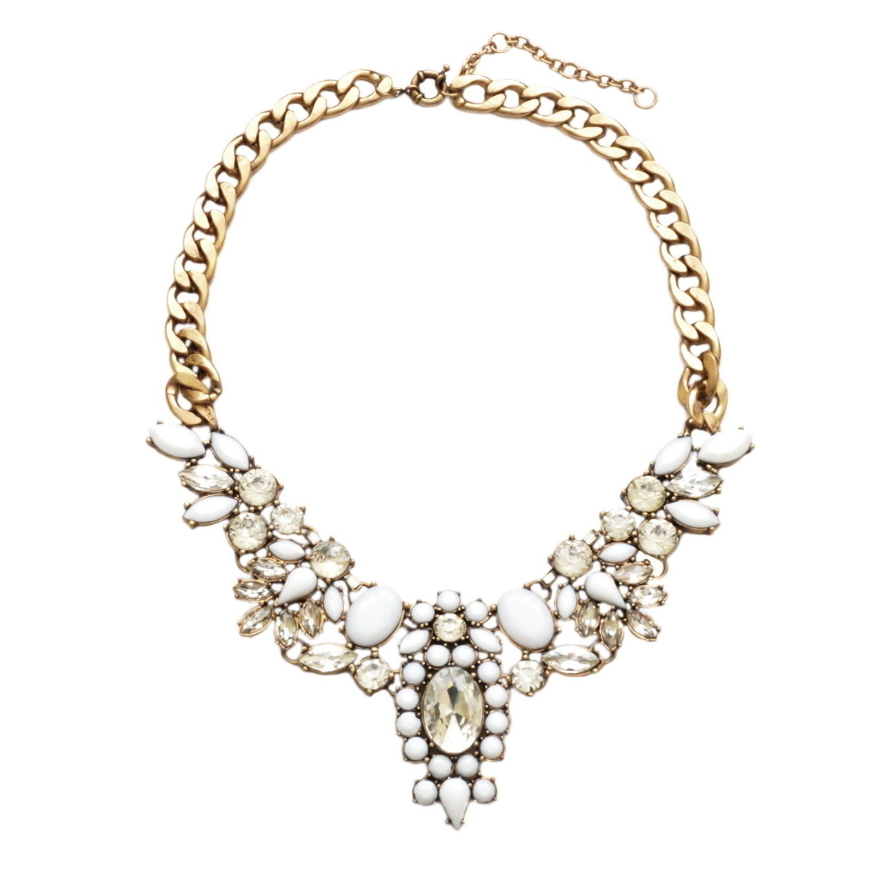 White Crystal Flower Bib Statement Necklace | Choker