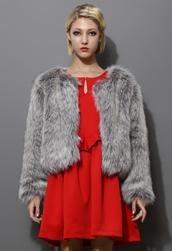 coat,faux fur,grey