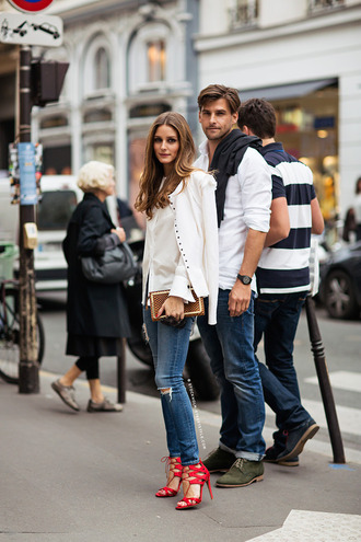 shoes jeans high heels olivia palermo streetstyle style olivia palermo fashion week 2014 johannes huebl boyfriend red heels lace up heels