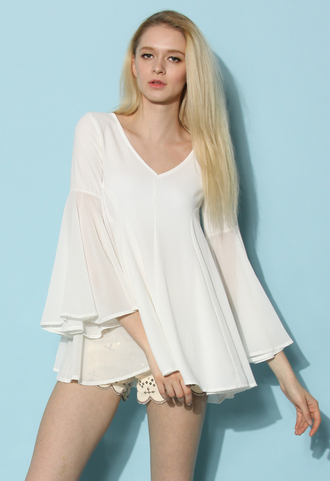 top chicwish chicwish.com bell sleeves flare top white top summer top spring top chic top