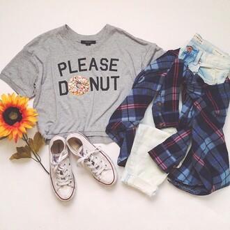blouse t-shirt donut please donut grey crop tops shorts shirt