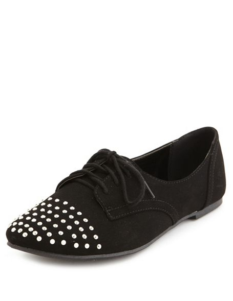 Toe sueded oxford flat: charlotte russe