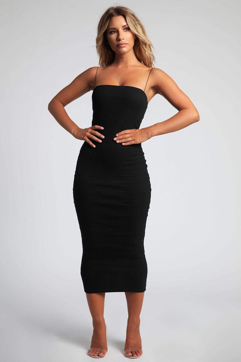 Jalia Thin Strap Ribbed Maxi Dress - Black