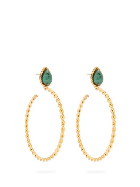 Sylvia Toledano earrings gold green jewels