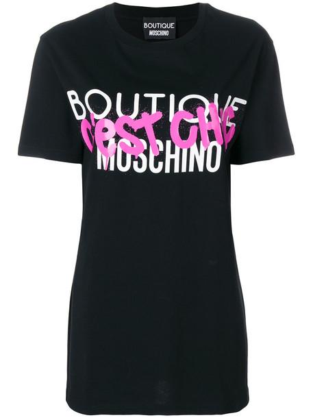 Boutique Moschino - c'est chic T-shirt - women - Cotton - 40, Black, Cotton