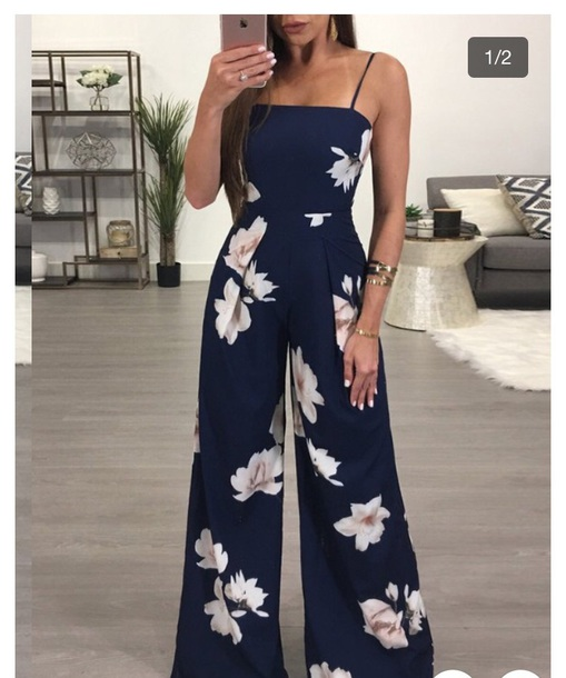 jumpsuit flowers blue floral jumpsuit blue jumpsuit