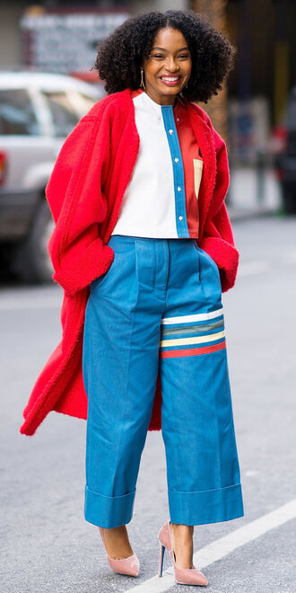 pants pumps coat yara shahidi fall outfits red coat